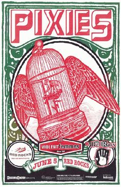Concert poster for The Pixies at Red Rocks Amphitheatre in Denver, Colorado in 2005. 11x17 card stock.