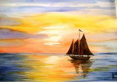 -tramonto- acquerello 35x51 di Lorenza Pasquali