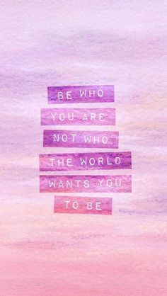 Don't try to be someone your not! Be who God made you to be