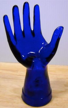 Cobalt Blue Glass Mannequin Ring Jewelry Display Hand