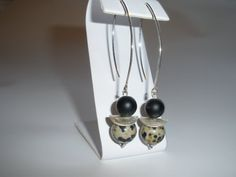 Long sterling silver dangle earrings with matte black by MeAndSiSi