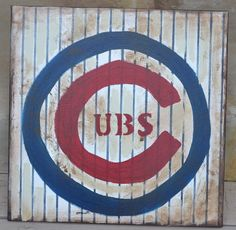 Items similar to Vintage Inspired Chicago Cubs sign on Etsy Chicago Cubs Baseball, Chicago Cubs Logo, Cubs Room, Cubs Pictures, Cubs Gear, Cubs Win, Go Cubs Go, Painting Quotes, Man Room