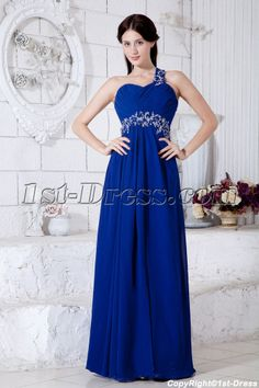 One Waiste Zipper Empire Modern/Sexy Blue Royal Empire Floor-length Shoulder/Sweetheart Sleeveless Chiffon Ruched/Beading/Appliques/Sequins Prom Dress Pageant Dresses For Women, High Low Prom Dresses, Prom Dresses For Sale, Cheap Bridesmaid Dresses, Prom Dresses Blue, Cheap Wedding Dress, Homecoming Dresses, Casual Bridesmaid, Dama Dresses