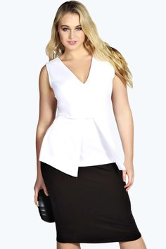 Plus Size Plunge Neck Peplum Top