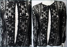 Very RARE.Vtg.60/70s Black Open Crochet Knitted by autumnschild