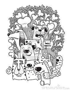 Ручной обращается рисунок Смешные Собаки Set