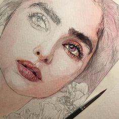 Drawings ・ ・ ✏️my drawing✏️ ・ ・ ・ ・WIP ・ ・ ・ ・ ・ ・ ・ ・ ・ Watercolor Portraits, Watercolor Paintings, Watercolour, Paintings Tumblr, Dibujos Cute, Guache, 3d Drawings, Sketch Painting, People Art