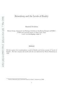 Heisenberg and the Levels of Reality