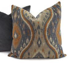 Gray Taupe Blue Tan & Cinnamon Woven Ikat Throw Pillow