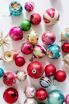 As part of our Vintage Goods section, our selection of Vintage Christmas Ornaments cannot be beat. You'll remember these beautiful gems from your mom or grandma's tree growing up. Let us choose - we'll select a unique assortment of 5 ornaments and send th Christmas Ornament Sets, Vintage Christmas Ornaments, Rustic Christmas, Christmas Crafts, Christmas Ideas, Christmas Music, Retro Christmas Tree, Bohemian Christmas, Antique Christmas