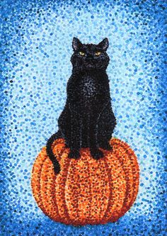 Halloween Black Cat on Pumpkin Card 5x7 by MILESTOGOwithALI, $5.00