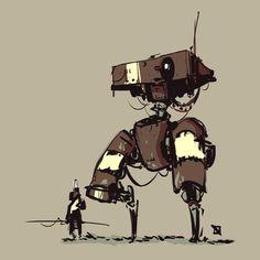 Sieh dir dieses Instagram-Foto von @spudonkey an • Gefällt 2,184 Mal Robot Concept Art, Environment Concept Art, Robot Art, Character Concept, Character Design, Character Drawing, Robots Characters, Mekka, Futuristic Art
