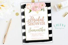 Bridal Shower Einladung Floral schwarz / weiss von LaLunaDesigns