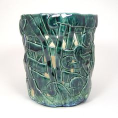 Green Orchid Pot Pieced Blue Green by WhistlingFishPottery on Etsy