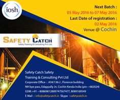 Hurry!!! TODAY IS THE LAST DAY! For Online Registration: http://bit.ly/1rO8VEz Contact us for Details: http://bit.ly/1nSPybO ~www.safetycatch.in #Safetytraining‬‬ #IOSH‬ #SafetytrainingIndia‬ #SafetyTraininigCourses‬