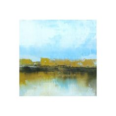 Williams-Sonoma Ronda Waiksnis A Bit of Ochre ($350) ❤ liked on Polyvore featuring home, home decor, wall art, landscape wall art, oil panel, abstract home decor and abstract wall art