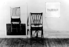"""Joseph Kosuth,One and Three Chairs, 1965, wood folding chair, mounted photograph of a chair, and mounted photographic enlargement of the dictionary definition of """"chair"""" (MoMA)"""