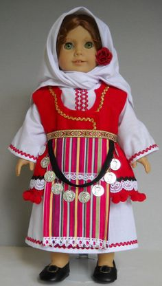 "Fits 18"" American Girl doll Macedonian folk dress clothes F (COSTUME ONLY)"