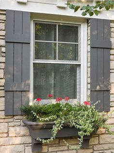 Updating the exterior of a small stone house known as Pearce Cottage in Minneapolis. Cottage Shutters, Cottage Windows, House Shutters, Cottage Exterior, Exterior Shutters, Stone Exterior Houses, Exterior Paint Colors For House, Stone Houses, Stone Cottages