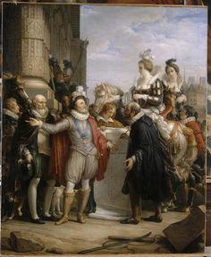 Pierre-Henri Révoil, Michel Philibert Genod | Pharamond proclamé roi après le pillage de la ville de Trèves en 417, est porté sur le pavois | Images d'Art