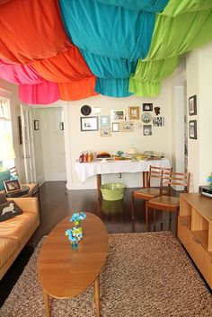 WHOA!  I love that color blocked ceiling.  Love!