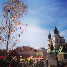 Prague Czech Republic ! Easter markets and gorgeous blue sky!