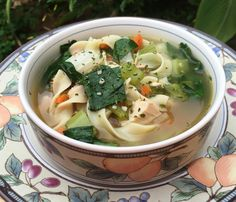 No Yolks Chicken Noodle Soup - Allrecipes.com   Added garlic and bok choy, just because we had it.  Used leftover grilled chicken as well! #AllstarsNoYolks #onlynoyolks