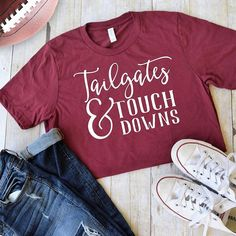 Football Season is upon us and that means Sunday parties and tailgating! Grab one of these super cute tees to show your football spirit! Screen Printed on very soft Bella+Canvas Tees Please keep in mind that these are a unisex fit (refer to size chart) Fall Shirts, Mom Shirts, Cute Shirts, Greek Shirts, Football Spirit, Football Season, Women's Football, Football Outfits, Football Stuff