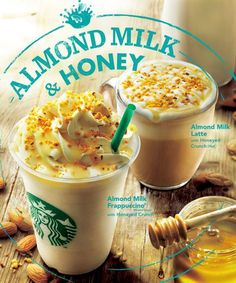Almond milk & honey drinks, available at Starbucks Japan. Food N, Food And Drink, Coffee Advertising, Dm Poster, Food Menu Design, Coffee Poster, Banners, Cafe Menu, Food Drawing