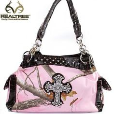 Click Here and Buy it On Amazon.com $41.99 Amazon.com: REALTREE Western Camouflage Rhinestone Gemstone Small Round Rivet Studded Cross Detailed Tote Satchel Handbag Purse with Animal Print Detailed Chain Shoulder Strap and Side Pockets in Camo and Coffee, Pink: Clothing