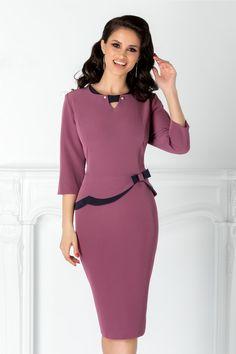 stylish purple peplum dress with navy blue stripes in waist tie and decorative … - Dress Elegant Outfit, Classy Dress, Elegant Dresses, Formal Dresses, Modest Fashion, Women's Fashion Dresses, Dress Outfits, Batik Dress, Peplum Dress