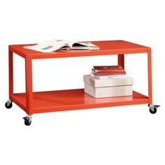 Add a splash of color & a hint of organization to any room with this Room Essentials® Metal Cart in orange.