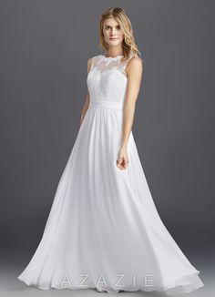 Shop Azazie Wedding Dress - Macaria BG in Chiffon. Find the perfect wedding dress for your big day. Available in regular or plus sizes 2-26W at Azazie.