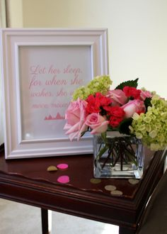 Sweet framed nursery art at a pink and gold baby shower -- SomersetCakes.com