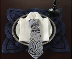Party Tip: How to Fold a Father's Day Napkin  this would be a good idea for a grooms dinner...you could give them a real tie as a gift