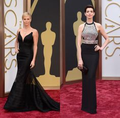 Not-basic Black - Oscars 2014 - Charlize Theron in Dior and Anne Hathaway in Gucci