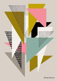 Simple Shapes No4 is the fourth in a series of prints based around shape, form, repetition and colour. Colours used in this piece include olive green, blush pink, sea green and black on a soft grey background. The image is printed on beautiful, heavyweight, 100% cotton archival matte