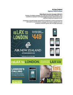 [Agency: PMSI/Portland] Concepts and copy for successful Air New Zealand pitch work for Portland agency PLanned Marketing Solutions Inc. (PMSI).