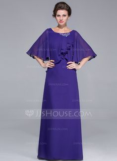 Sheath/Column Scoop Neck Floor-Length Chiffon Mother of the Bride Dress With Ruffle Beading Cascading Ruffles (008025718)