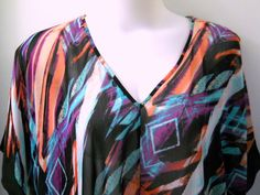 Susie Rose Sheer Blouse 4X 26/28W Plus Black Green Peach Abstract Print Belt #SusieRoseCollection #Tunic #CasualorDressy
