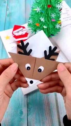Christmas Card Crafts, Holiday Crafts, Christmas Origami, Christmas Tree, Halloween Christmas, Paper Crafts Origami, Origami Easy, Halloween Crafts For Kids, Diy Halloween