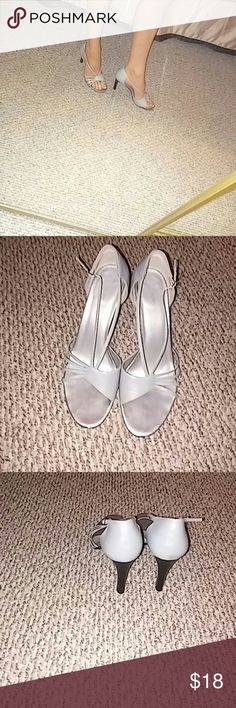 Cute Gray Heels By Newport News 8 1/2 These heels are so cute. Only worn twice. 8 1/2 heel is 3in Newport News Shoes Heels