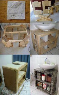 Best Kitchen Wood Diy Bathroom Ideas - Home Decor Diy Bathroom, Small Bathroom Storage, Wall Storage, Bathroom Organization, Bathroom Vanities, Room Interior, Interior Design Living Room, Diy Vanity, Vanity Ideas
