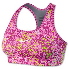 Women's Nike Pro Printed Compression Sports Bra | FinishLine.com | Red Violet/Volt/White