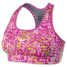 Women's Nike Pro Printed Compression Sports Bra| FinishLine.com | Red Violet/Volt/White