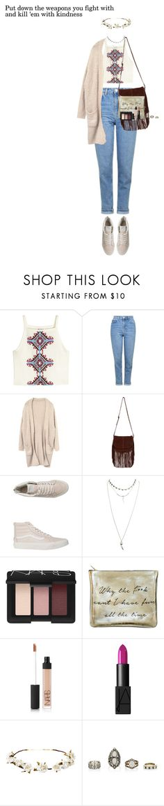 """Put down the weapons you fight with and kill 'em with kindness"" by missrouroud ❤ liked on Polyvore featuring H&M, Topshop, Accessorize, Vans, Wet Seal, NARS Cosmetics, Sarah Baily and Cult Gaia"