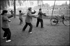 Guy Le Querrec China. Beijing. 1984 Gym along the Forbidden City. Early in the morning.