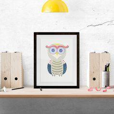 Etsy Owl Illustration. Home Decor, Wall Art, Owl Design. #etsy #etsyfinds