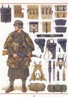 The complete and definitive reference works on the uniforms, equipment, weapons and insignia of the German Armed Forces (Wehrmacht) in the latter years of World War II. Military Gear, Military Weapons, Military Equipment, Ww2 Uniforms, German Uniforms, Military Uniforms, Army Uniform, German Soldiers Ww2, German Army