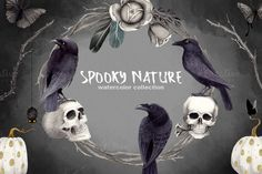 Halloween Clipart Set Spooky Nature by Watercolor Nomads on @creativemarket
